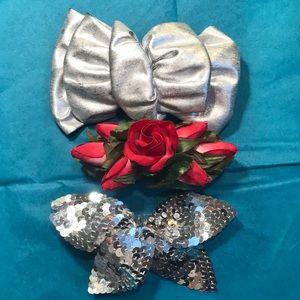 3 Vintage barrettes red rose. Silver sequins, bow